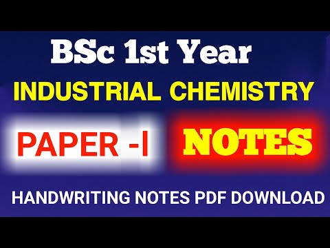 BSc 1st year industrial chemistry notes paper (l)
