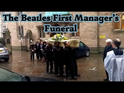 Allan Williams Funeral.  Coffin coming and going into church. Beatles manager