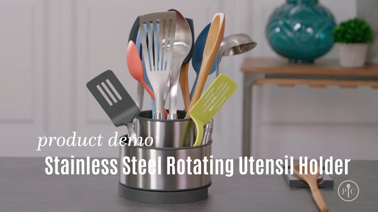 awesome Spinning Utensil Caddy Part - 1: Stainless Steel Rotating Utensil Holder | Pampered Chef