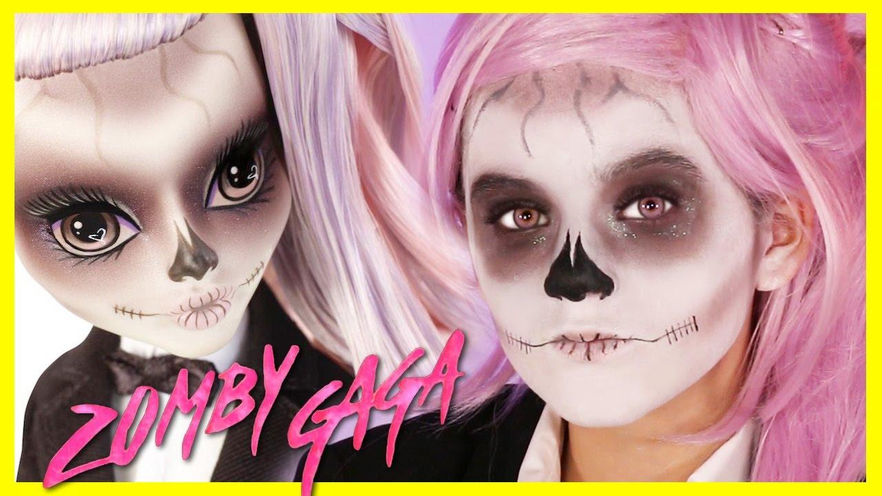 LADY GAGA BORN THIS WAY MONSTER HIGH DOLL MAKEUP TUTORIAL! Zomby Gaga! Costume | KITTIESMAMA - YouTube