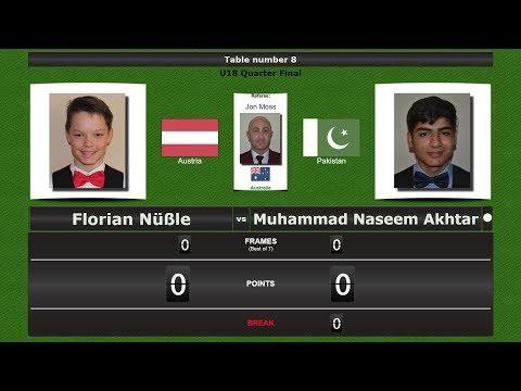 Snooker U18 1/4 Final : Florian Nüßle vs Muhammad Naseem Akhtar