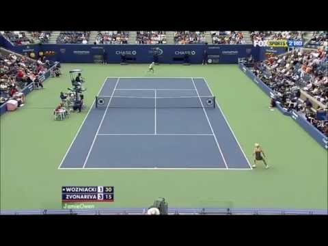 Caroline Wozniacki vs Vera Zvonareva 2010 US Open Highlights