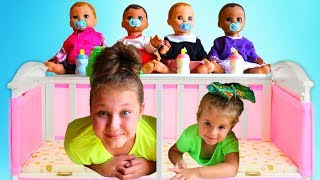 Ruby takes care of Babies! Kids Pretend Play with Baby Dolls Dress Up and Breakfast Feeding video