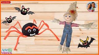 Arañas y Espanta Pájaros para Halloween