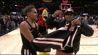 Trae Young Gives Quavo His Jersey After Dropping Career-High 50 Points On Quavo Night