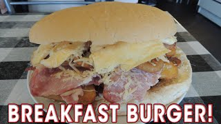 HUGE Breakfast Burger Challenge at KO's Sports Diner - Food Challenge