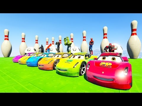 Thumbnail: COLOR McQueen Cars on Tractor! Cartoon with superheroes for kids and babies!