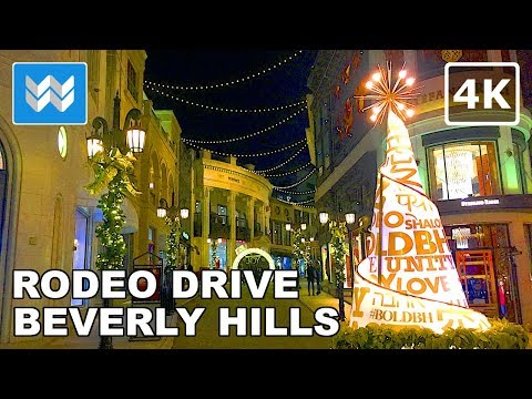 Walking tour of Rodeo Drive at Night | Beverly Hills Travel Guide【4K】