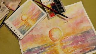 Видео урок АКВАРЕЛЬ Море