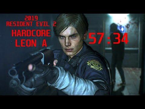 Resident Evil 2 Hardcore Speedrun Leon A 57:34