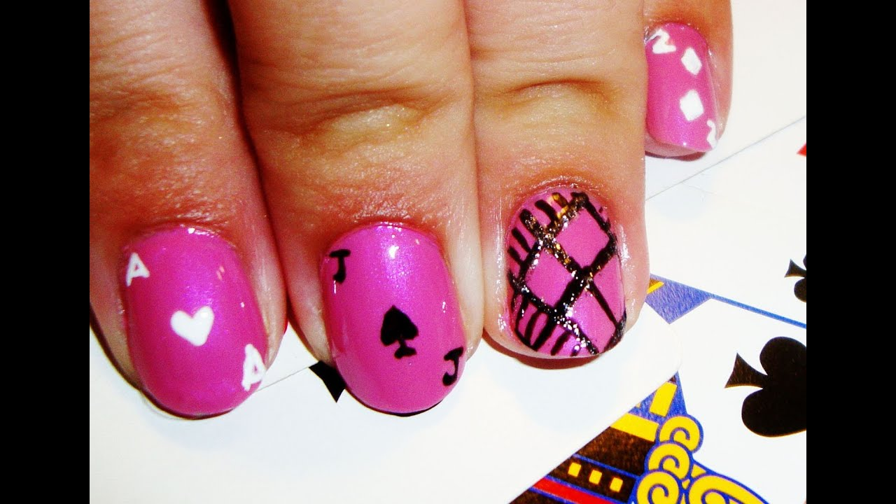 Pink and Black Playing Cards Nail Art - YouTube