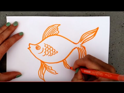 How to draw fish - Как нарисовать золотую рыбку - Como desenhar