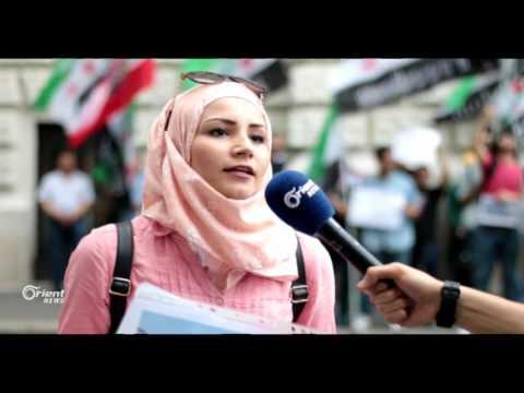 سوريون يحتجون امام السفارة اللبنانية في فيينا  - 12:20-2017 / 7 / 8