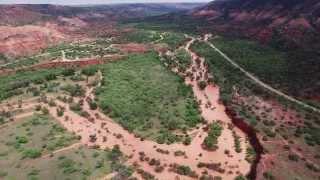 UHD 4K - Aerial view of major flooding at Palo Duro Canyon May-23-2015