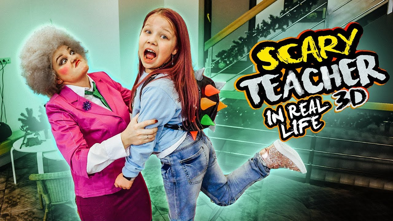 Korkunç öğretmen 3D gerçek hayatta! Öğretmen üzerinde şakalar!