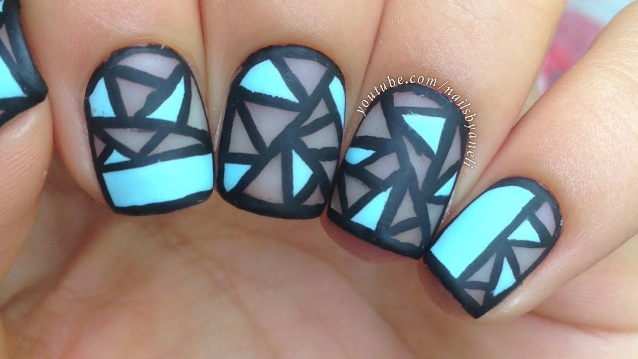 nail art tutorial geometric negative