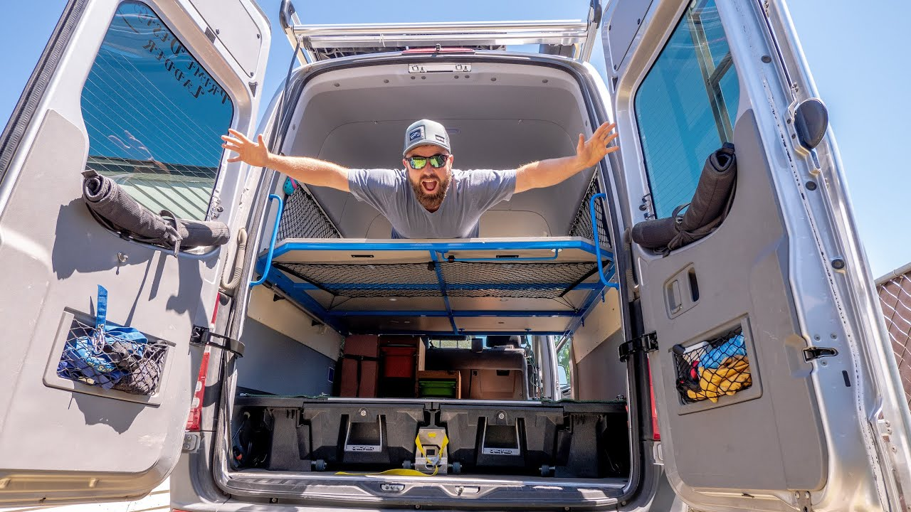 Diy Sprinter Van Bed Build Removable 3 Panel Loft Bed
