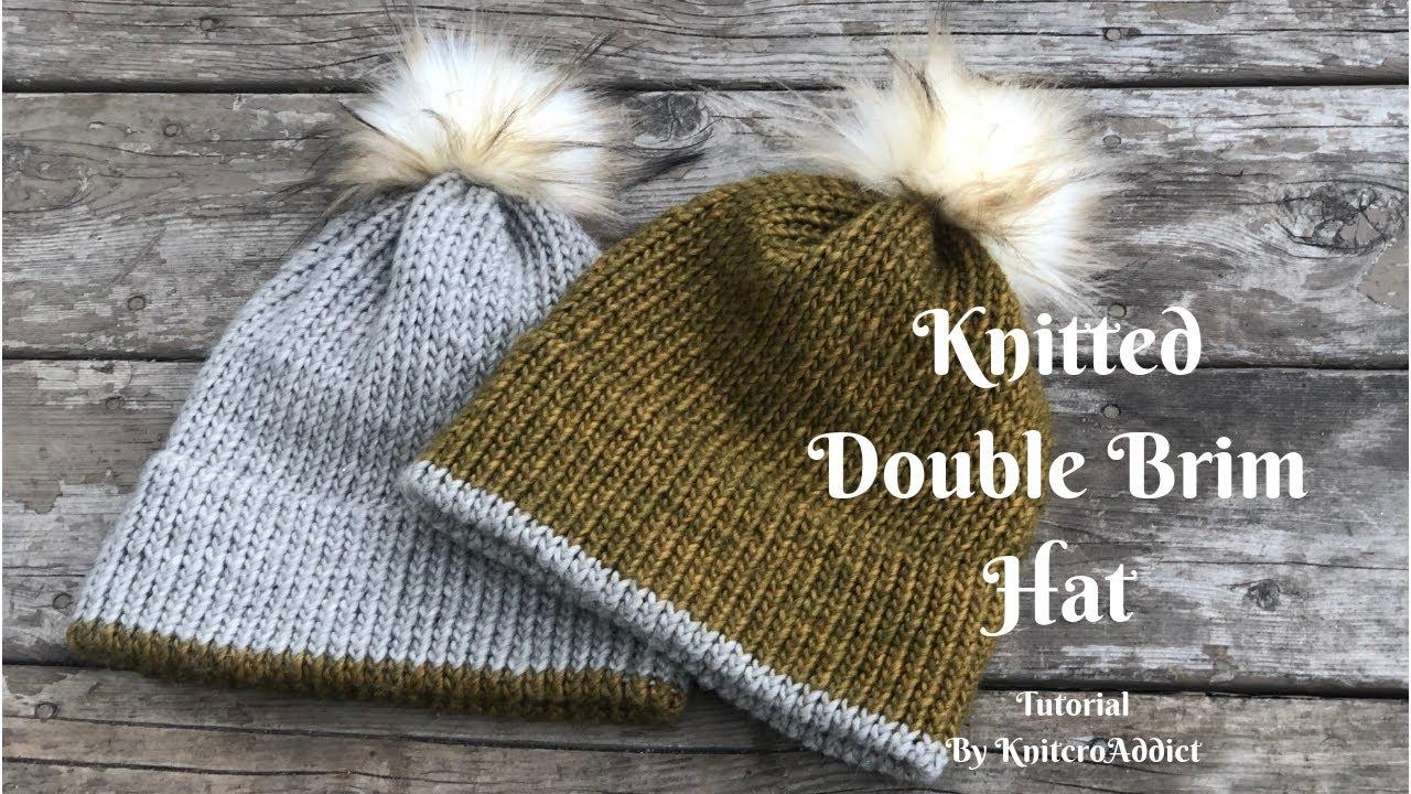 Folded Brim Beanie  Double Brim Beanie  Chunky Knit Hat  Winter Hat