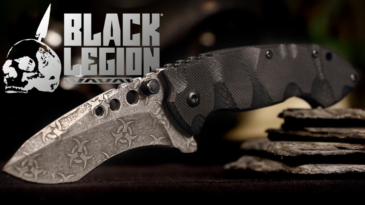 Black Legion Undead Atomic Biohazard Folding Pocket Knife Black