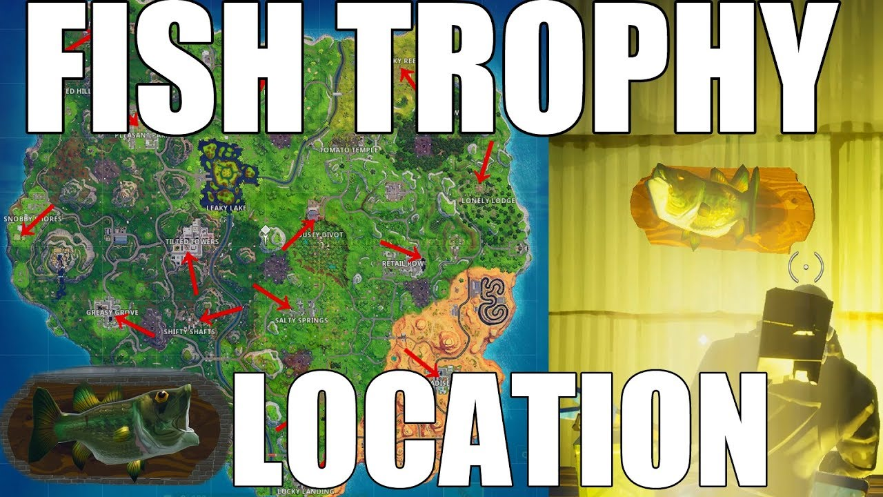Fortnite Dance With A Fish Trophy At Different Named Locations