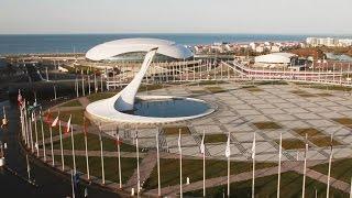 Олимпийский парк ранним утром. Красивая аэросъемка