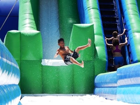 Ultimate Inflatable Backyard Water Park 51' tall skyscraper water slide - giant water slides for events in
