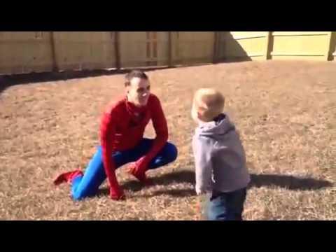 Marine Surprises Son Dressed As Spiderman