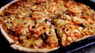 Как Приготовить Пиццу Быстро! Видео Рецепт.(Видео показывает, как приготовить пиццу дома, в домашних условиях. Тесто для пиццы бездрожжевое. Как пригот..., 2013-01-07T19:08:58.000Z)