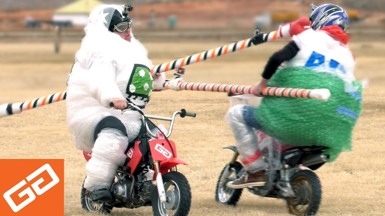 Dirt Bike Jousting With Bubble Wrap - YouTube