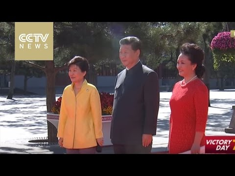 President Xi Jinping greets S. Korean President Park Geun-hye