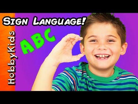 Sign Language ABC Alphabet! Family Fun EASY Learning ASL HobbyKidsTV