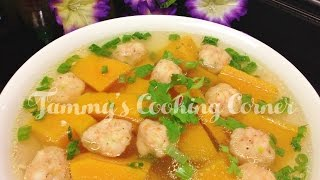 Canh Bi Do Nau Tom | Pumpkin Soup With Shrimp Balls (canh Bí Đỏ)
