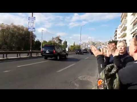Barack Obama's Presidential Motorcade arrives in Athens Greece