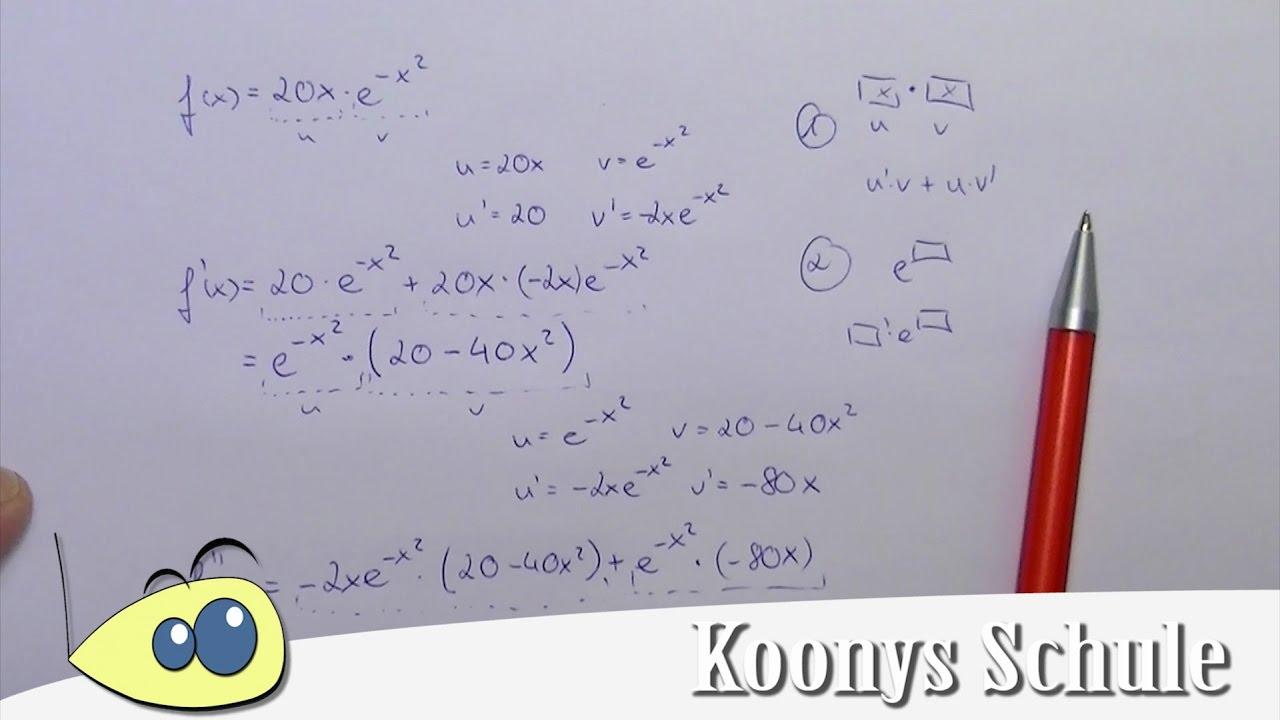 e-Funktion zweimal ableiten, Beispiel mit Produktregel | Analysis ...