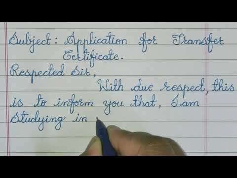 Application For Transfer Certificate To The Principal - Write TC Application In English For Students