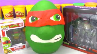 Giant TMNT Play Doh Surprise Egg Teenage Mutant Ninja Turtle with toys from Minecraft and more!