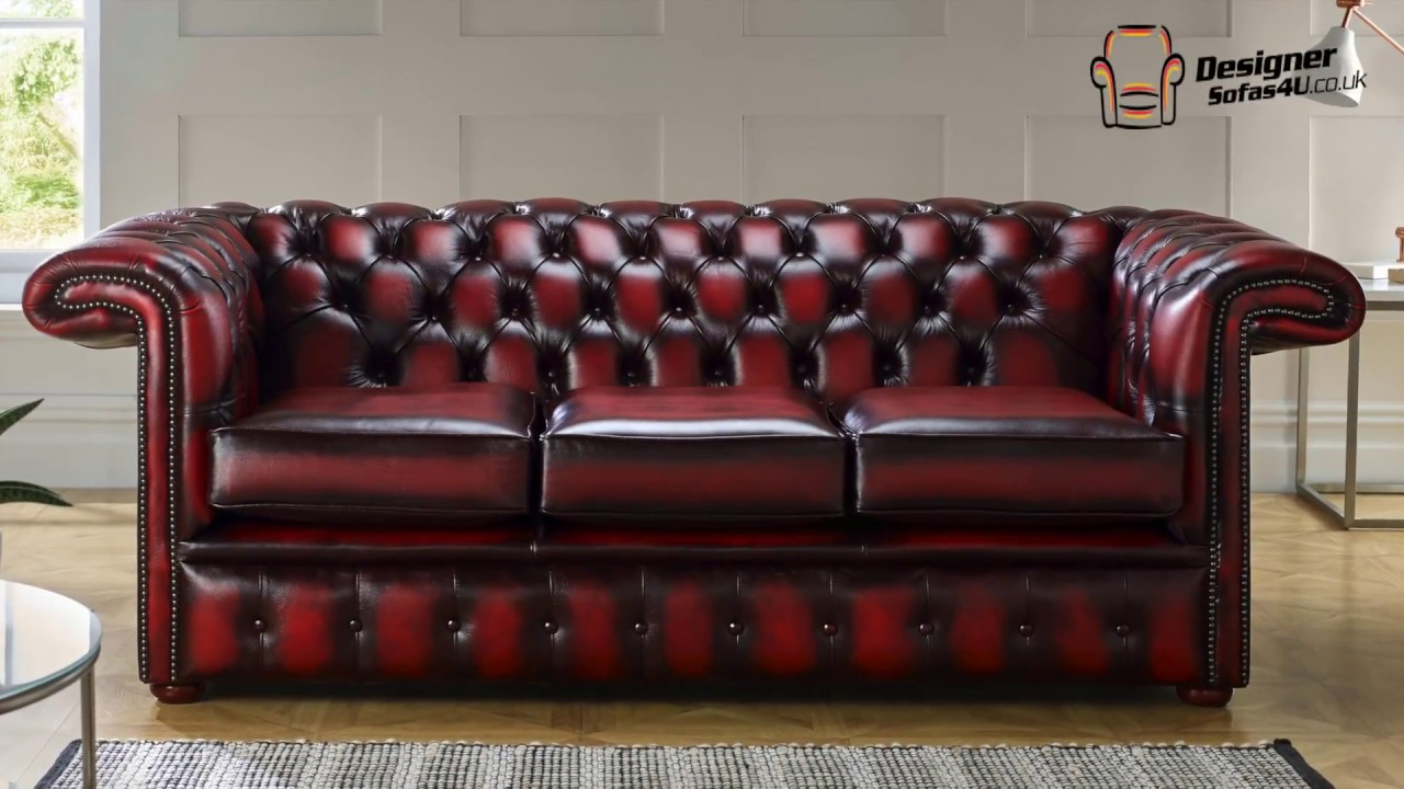 Chesterfield 1857 Hockey Stick Antique Oxblood Leather Sofa Offer Designer Sofas 4u