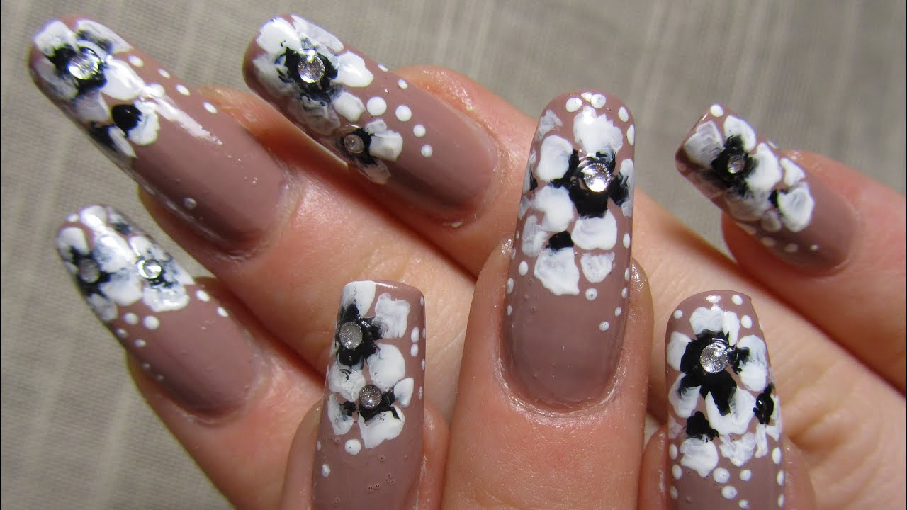 Elegant Beige One Stroke Flower Design In Black And White Nail Art Tutorial You