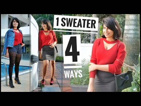 How to Wear: 1 Sweater 4 Ways ?☃️ || Winter Outfit Ideas || Isheeta 2