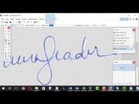 Create signature image with transparent background
