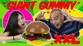 GIANT GUMMY!! Gomita XXL !!Mega Gominola de hamburguesa !! Gigante DIY