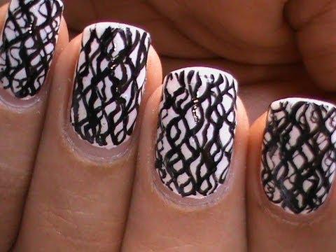 black and white nail art cute