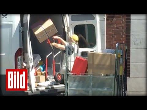 DHL-Bote wirft mit Paketen um sich - Krasse Lade-Technik