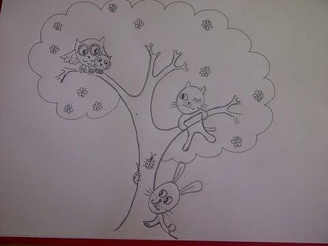 рисунок чудо дерево карандашом