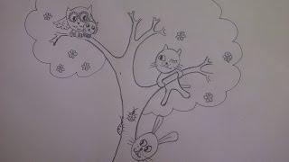 Весёлый рисунок. Рисуем сказочное дерево и зверей. Уроки рисования. Просто