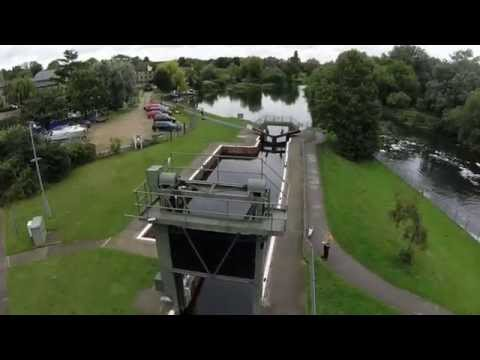 Eaton Socon lock and weir from the air.