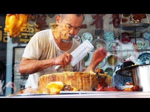 Most busy Knife Grandpa thin duck pork food / Macau street food /
