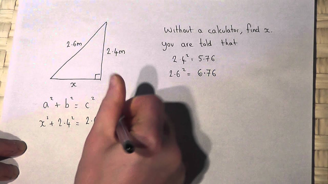 Pythagoras Theorem Solving Problems Involving Pythagoras Without A Calculator Youtube