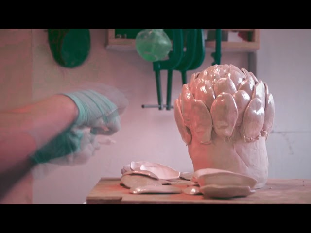 Time lapse - Ceramic pearl artichoke sculpture