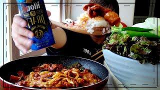 쌈제육볶음에 우동사리 콜 / Spicy meat / 요…